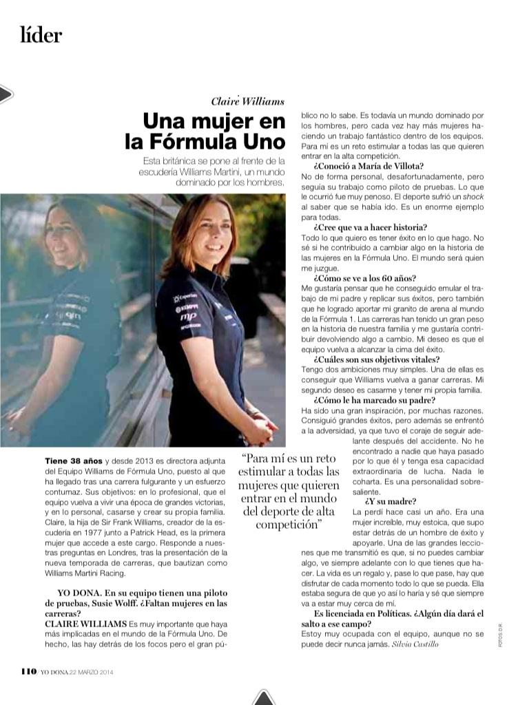 Entrevista Claire Williams en Yo Dona