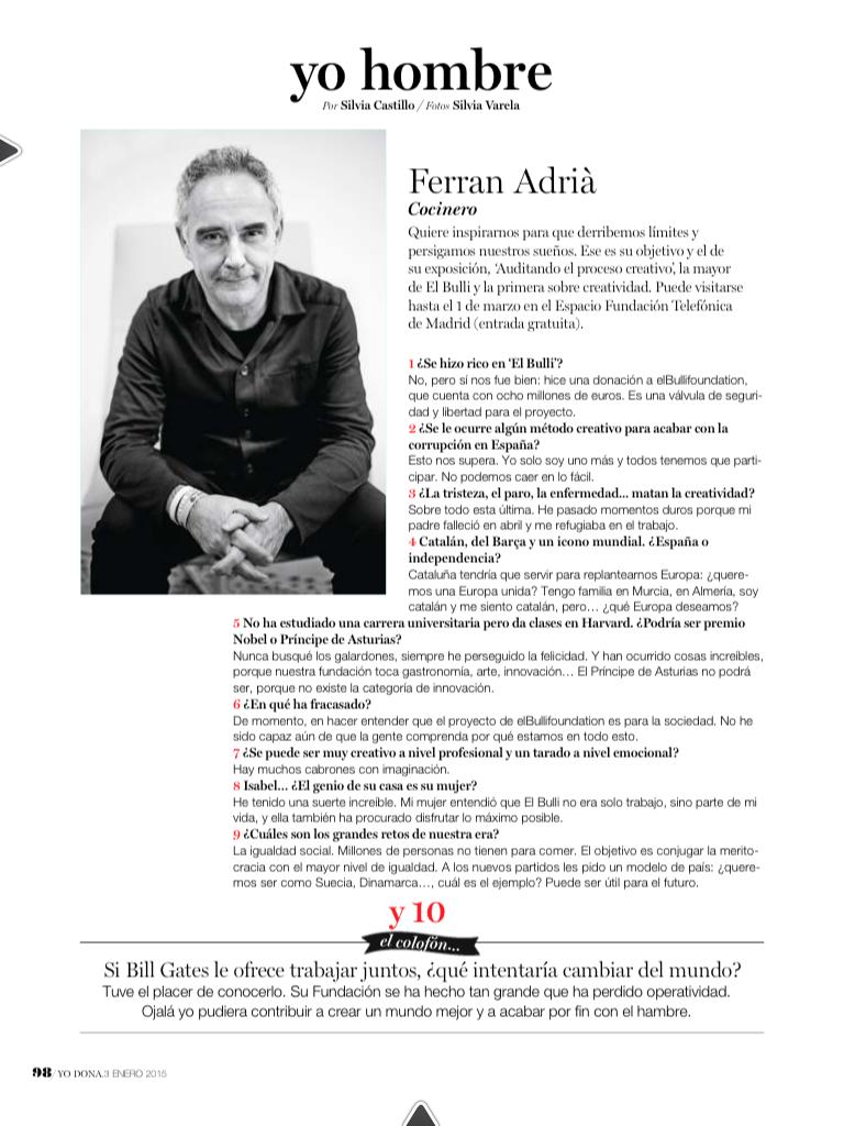 Entrevista a Ferran Adriá en Yo Dona